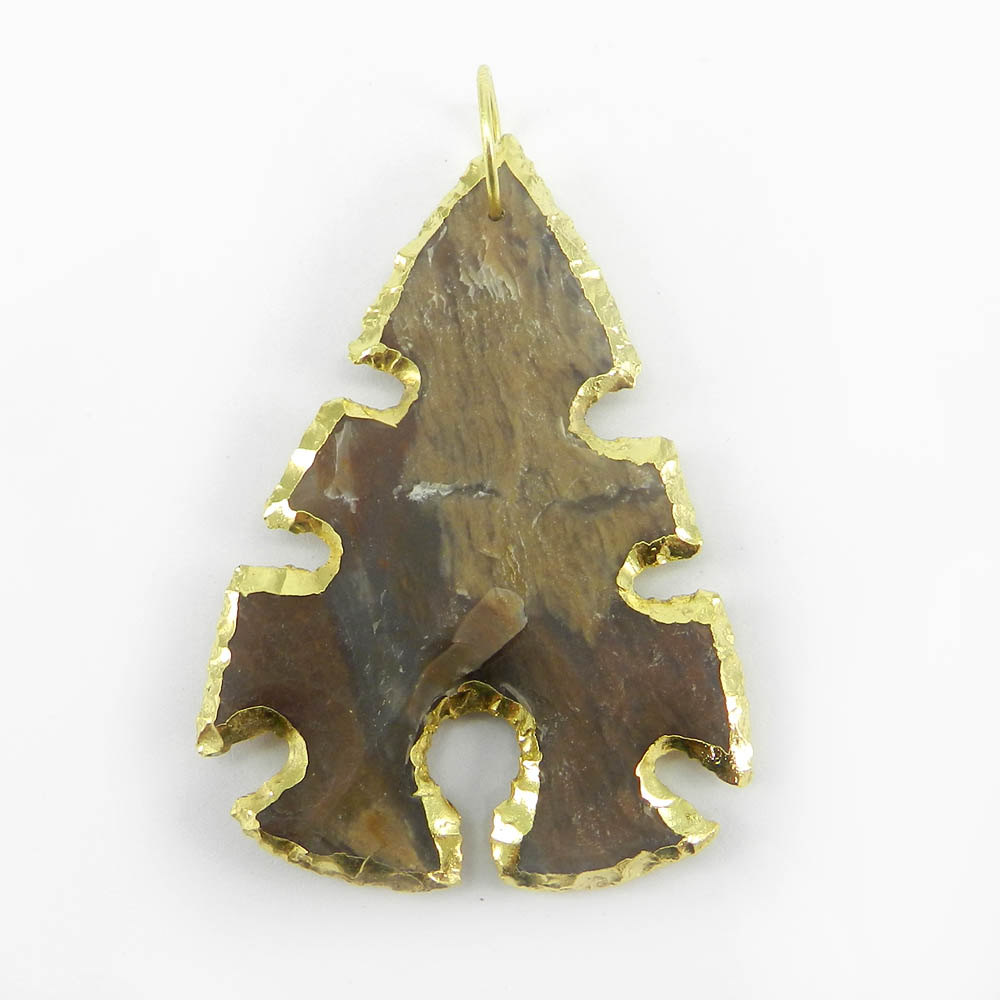 Agate Arrowhead Hand Crafted Natural Shape 55x40mm Gold Electroplated Pendant