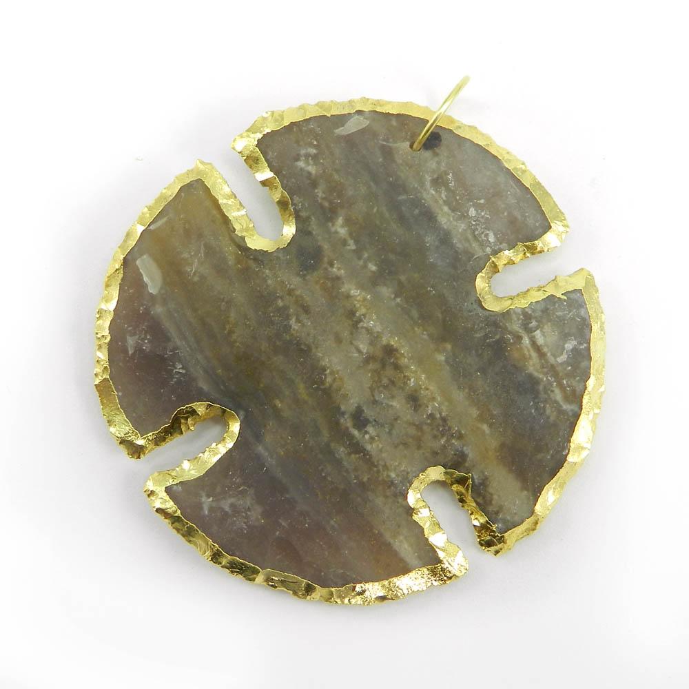 Agate Arrowhead Religion Wheel Shape 55mm Gold Electroplated Pendant
