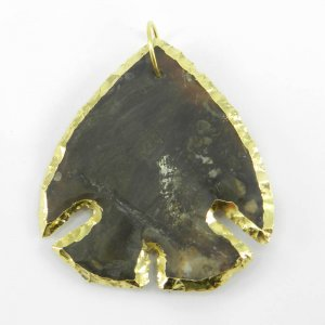 Agate Arrowhead Shield Shape 50x45mm Gold Electroplated Pendant