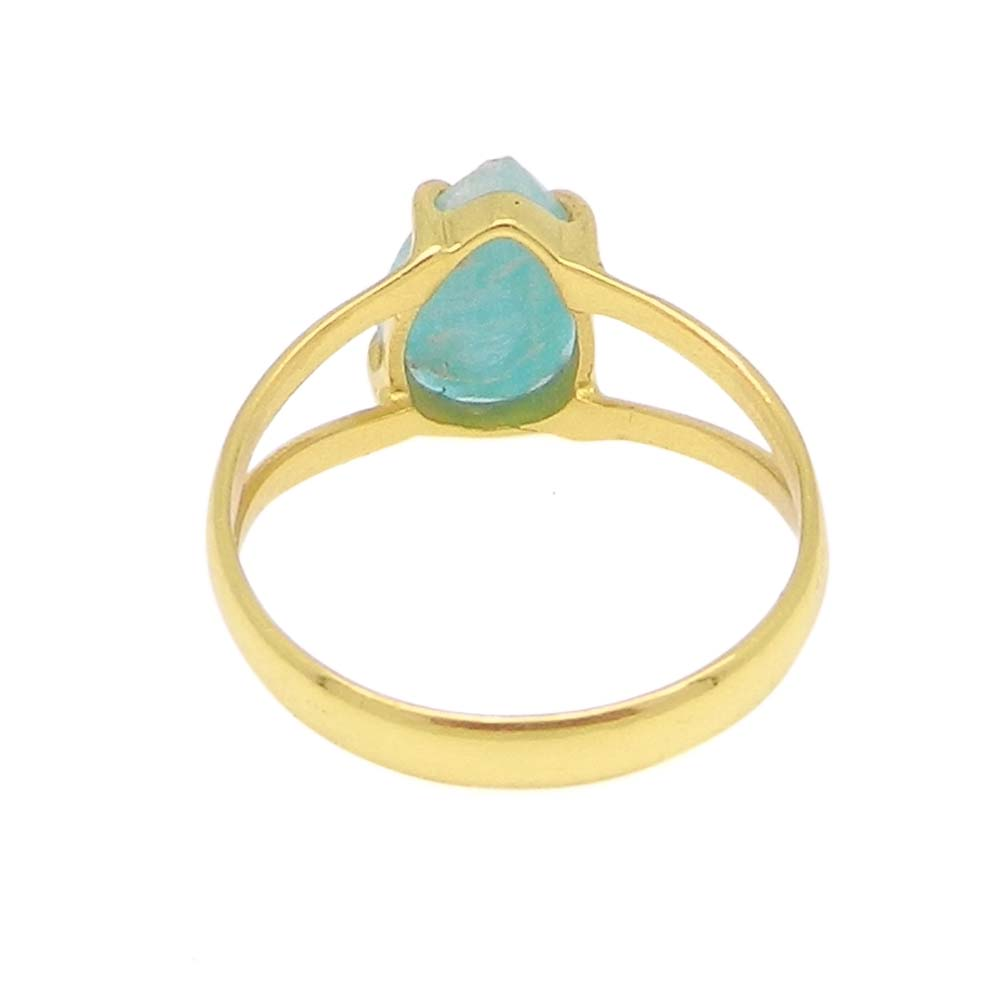 Amazonite 10x7mm Pear 18k Gold Plated and 925 Sterling Silver Prong Set Ring