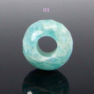 Amazonite Big Hole Roundel Faceted Beads 14x8x5.5mm