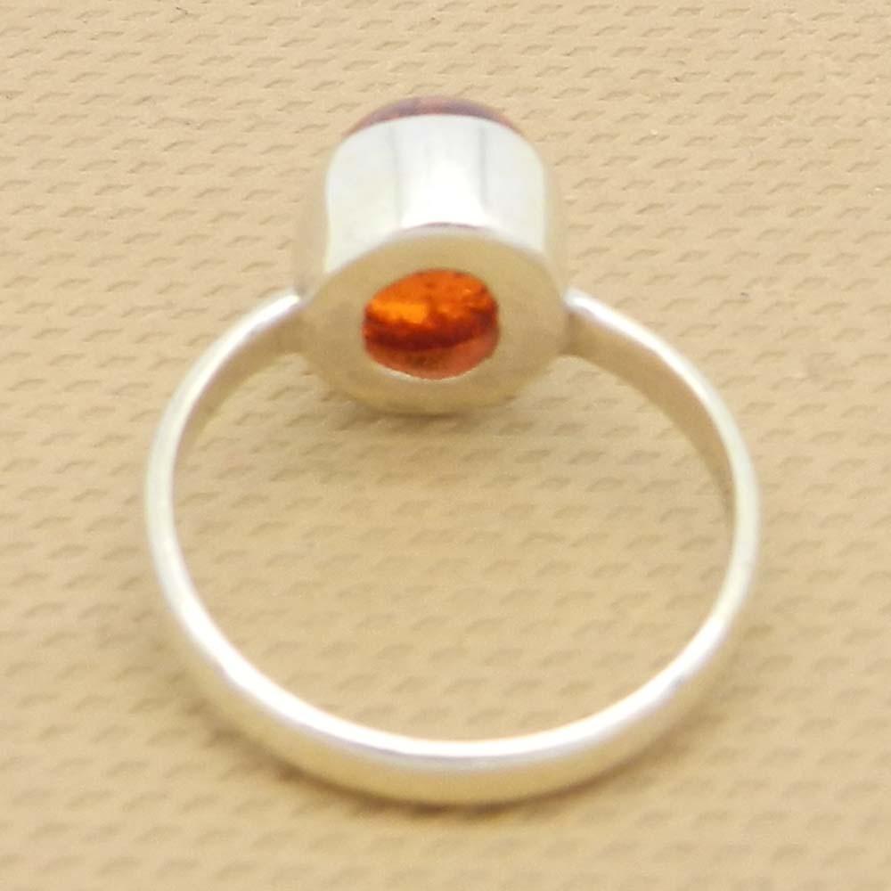 Amber 10x8mm Oval 925 Silver Bezel Set Ring