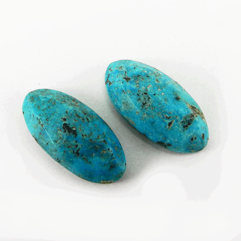 American Turquoise 25x12mm Oval Rose Cut Cabochon 13.5 Cts
