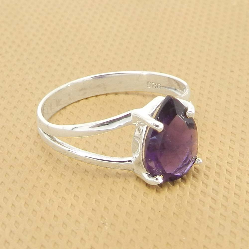 Amethyst 10x7mm Pear 18k Gold Plated and 925 Sterling Silver Prong Set Ring