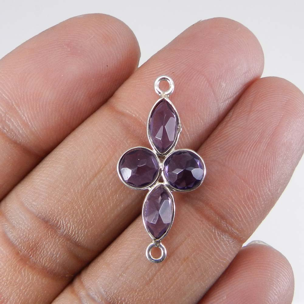 Amethyst 28x13mm Marquise Silver Double Loop Connector