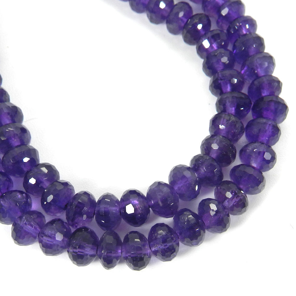 Amethyst 7mm 16 Inch Faceted Round Beads 131.60 Cts