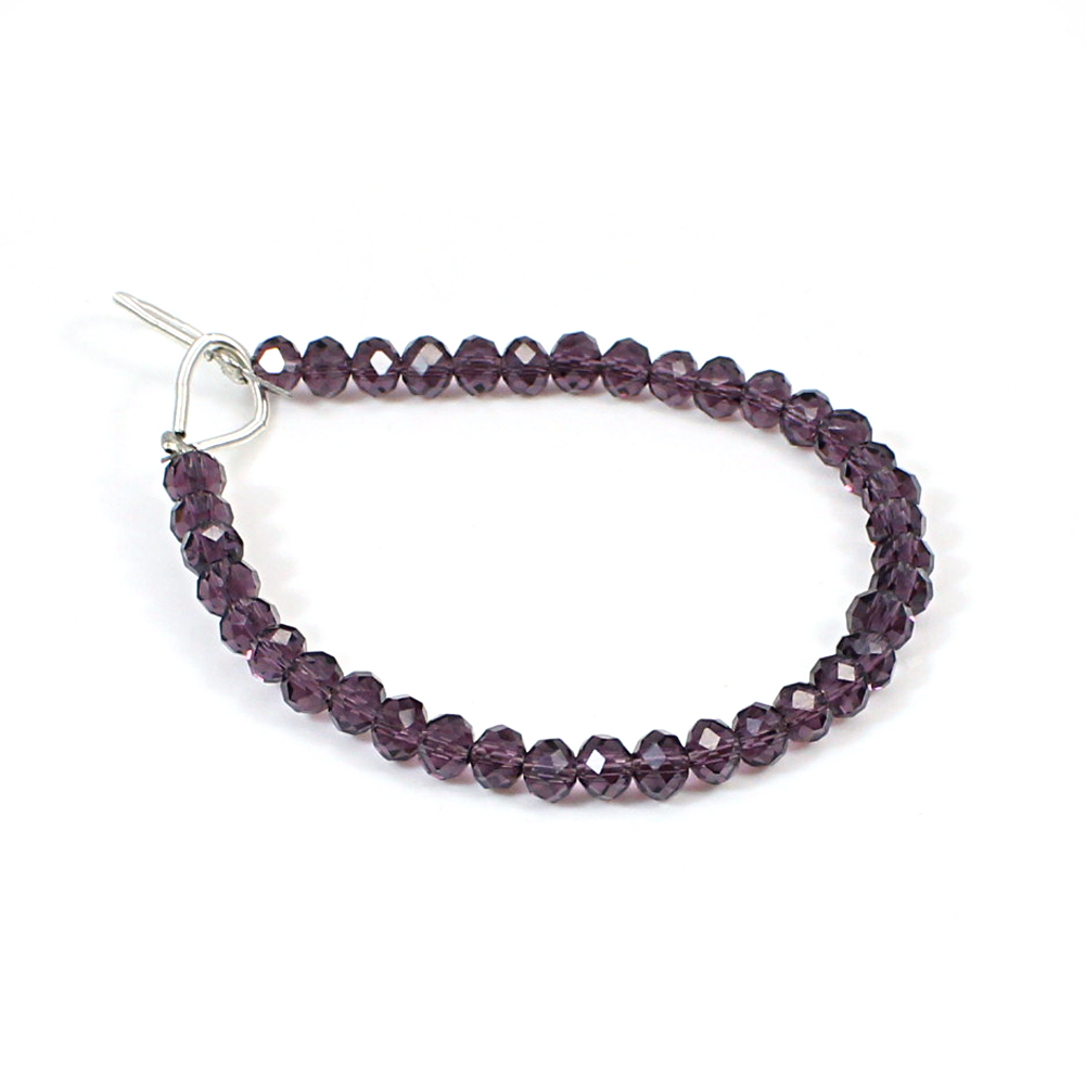 Amethyst Glass 4.92 Inch Round Faceted 14 Cts 4mm Beads Strand