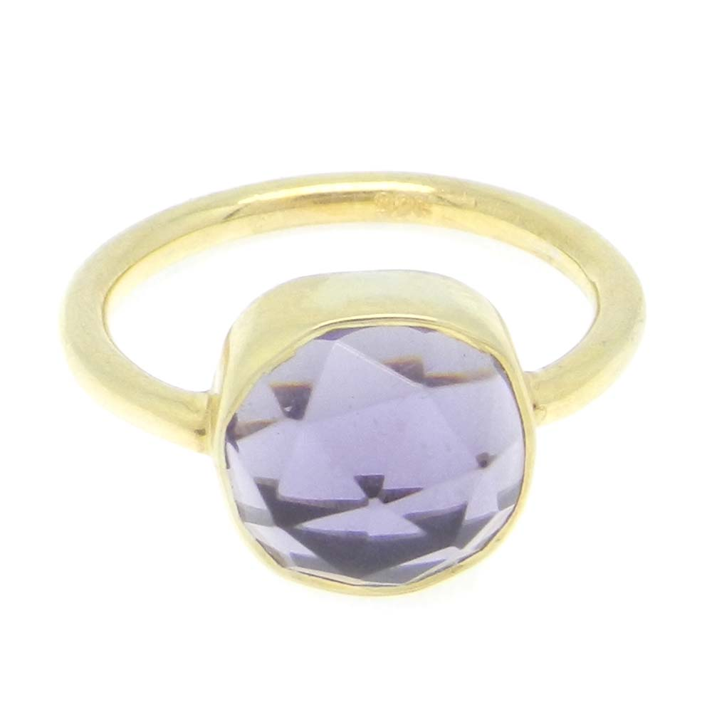 Amethyst Hydro 10x10mm Cushion 925 Silver With Gold Plated Bezel Set Ring