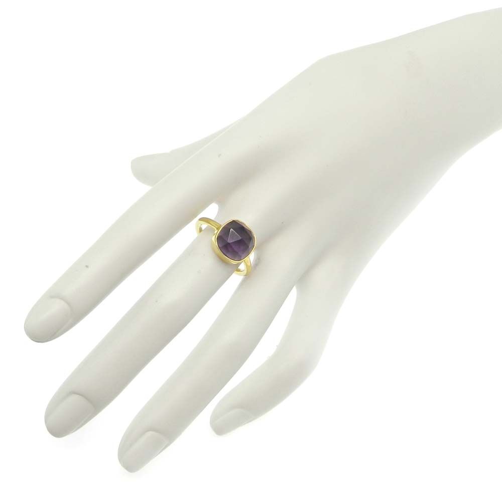 Amethyst Hydro 11x11mm Cushion 925 Silver With Gold Plated Bezel Set Ring