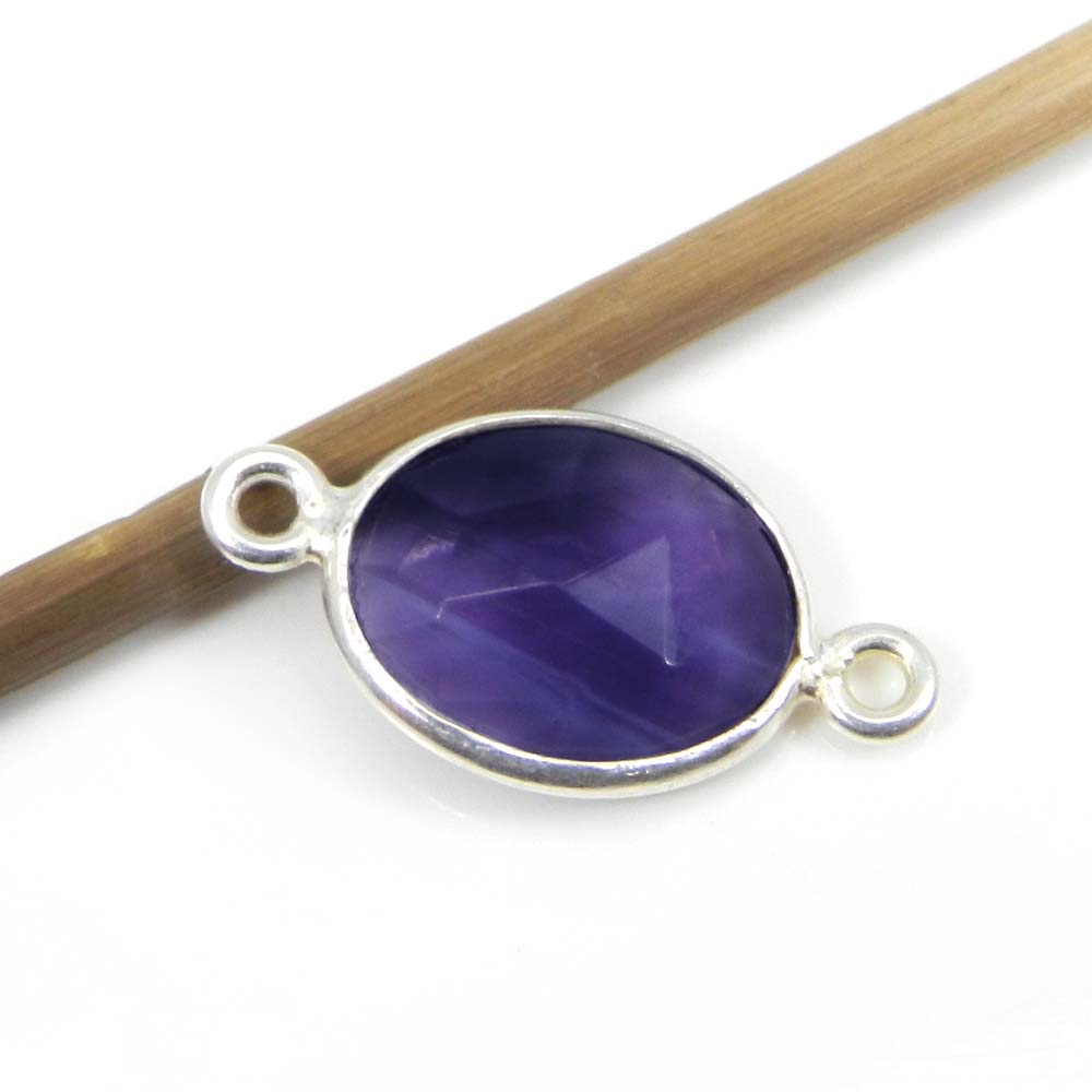 Amethyst Hydro 22x12mm Oval Silver Double Loop Connector