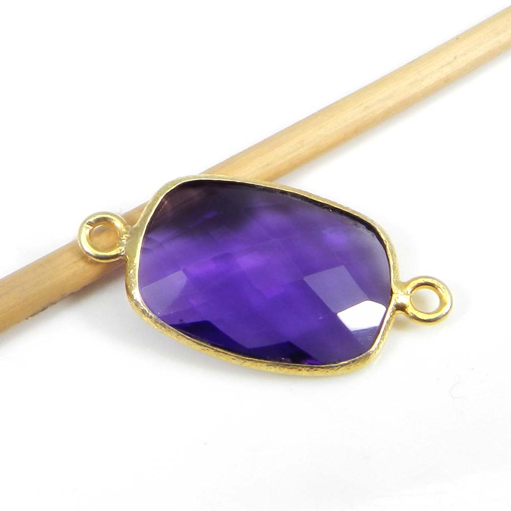 Amethyst Hydro 26x13mm Rectangle Silver With Gold Plated Double Loop Connector