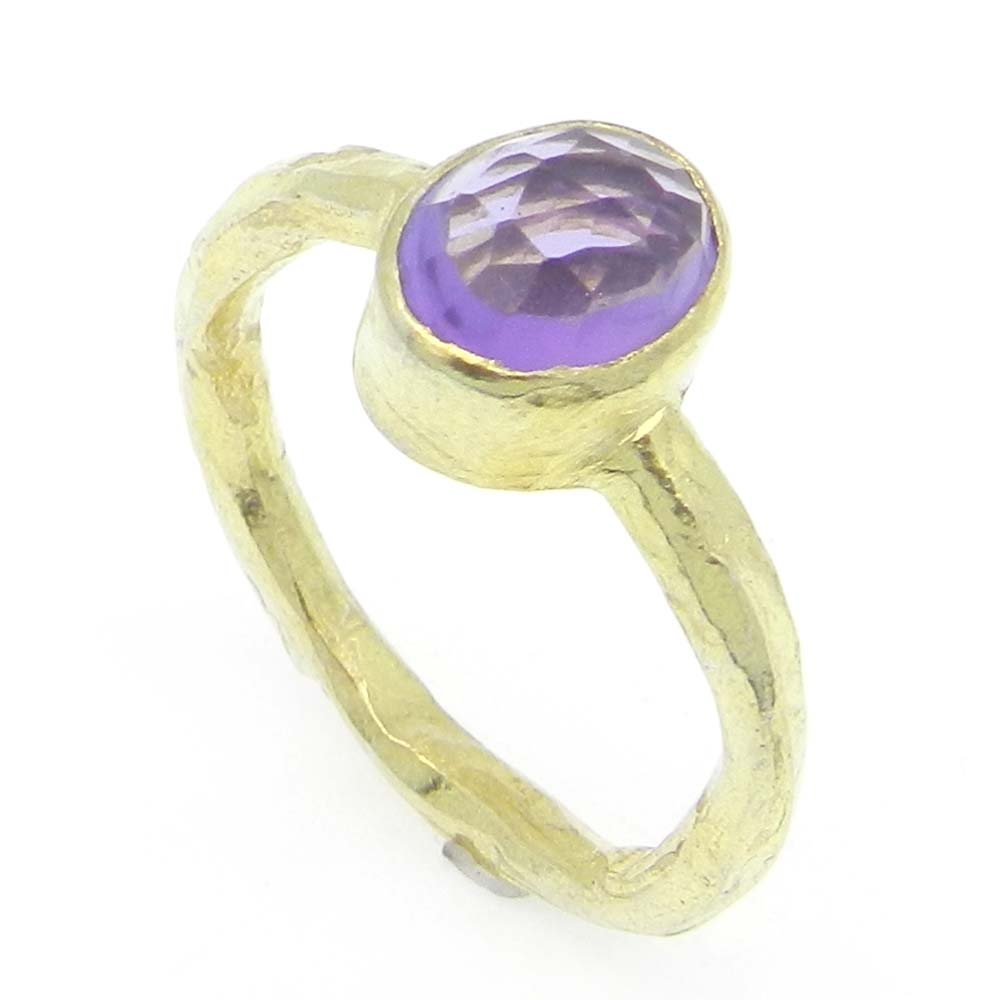 Amethyst Hydro 8x7mm Oval 925 Silver With Gold Plated Bezel Set Ring