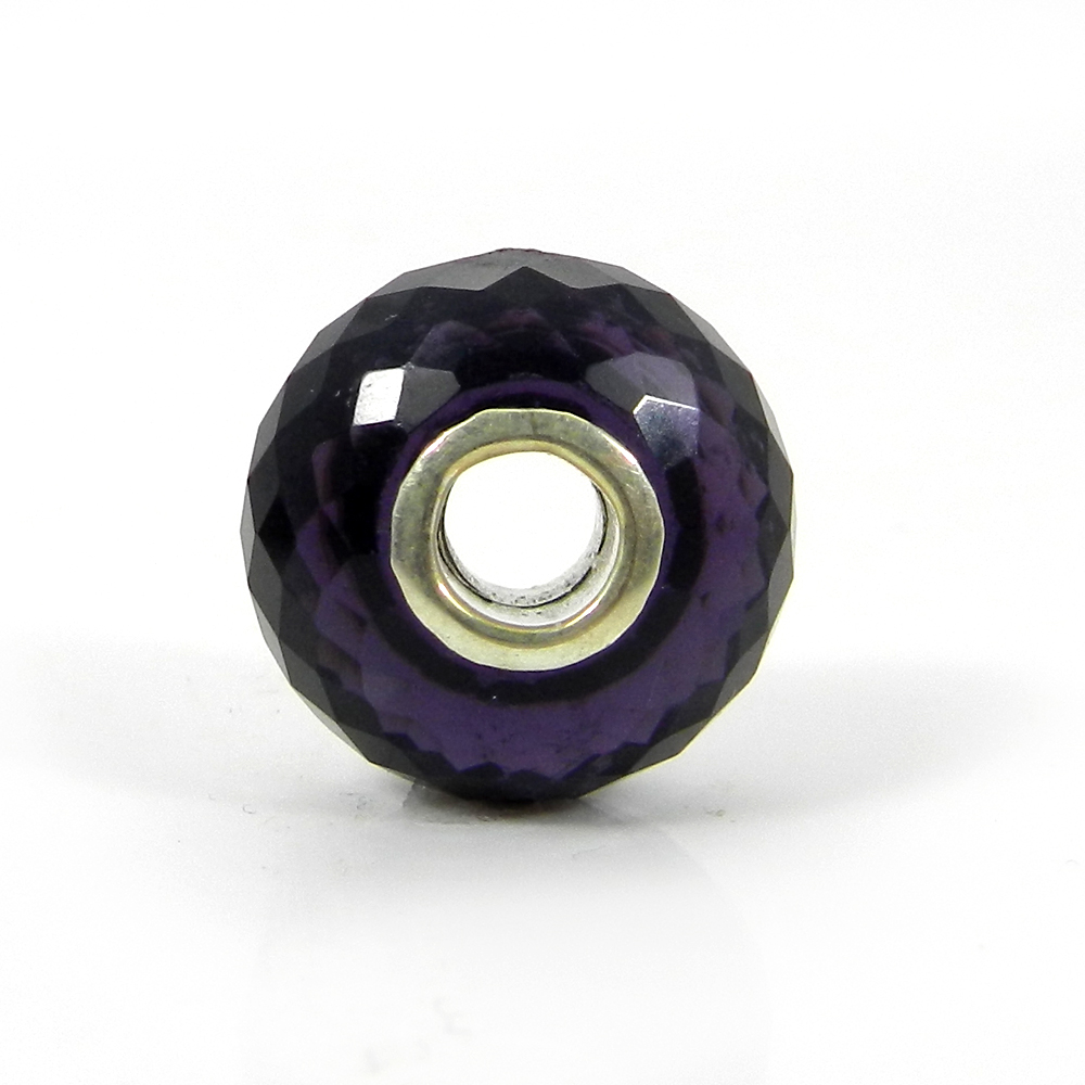 Amethyst Hydro Big Hole Roundel Faceted Silver Core Beads 16x10x4mm 18.70 Cts