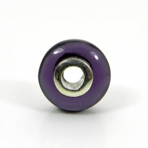 Amethyst Hydro Big Hole Roundel Smooth Plain Silver Core Beads 14x8x3.5mm 13.75Cts