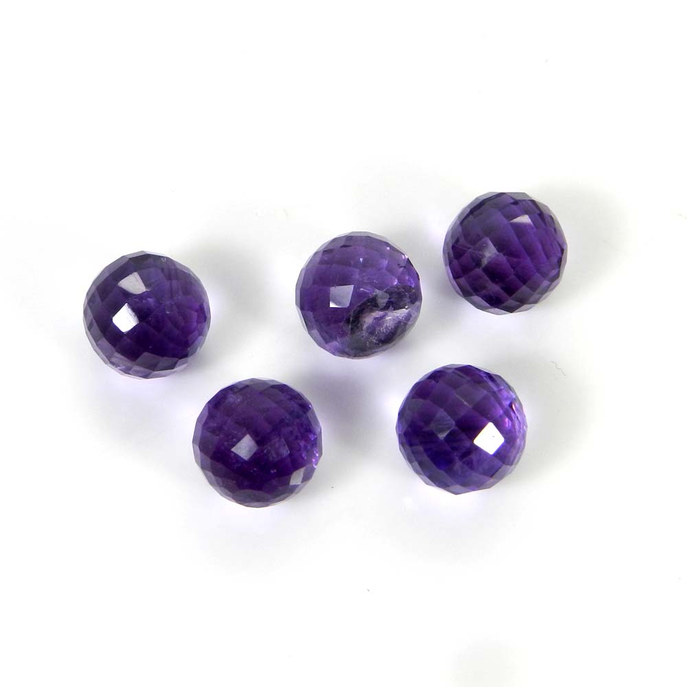 Amethyst Hydro Without Drilled 8x8mm Round Cut Ball 3.75 Cts