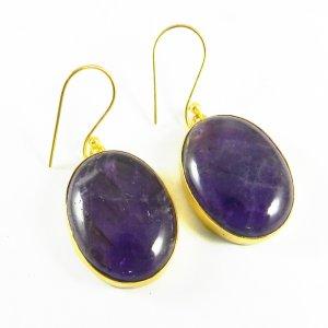Amethyst18k Gold Plated Bezel Earring