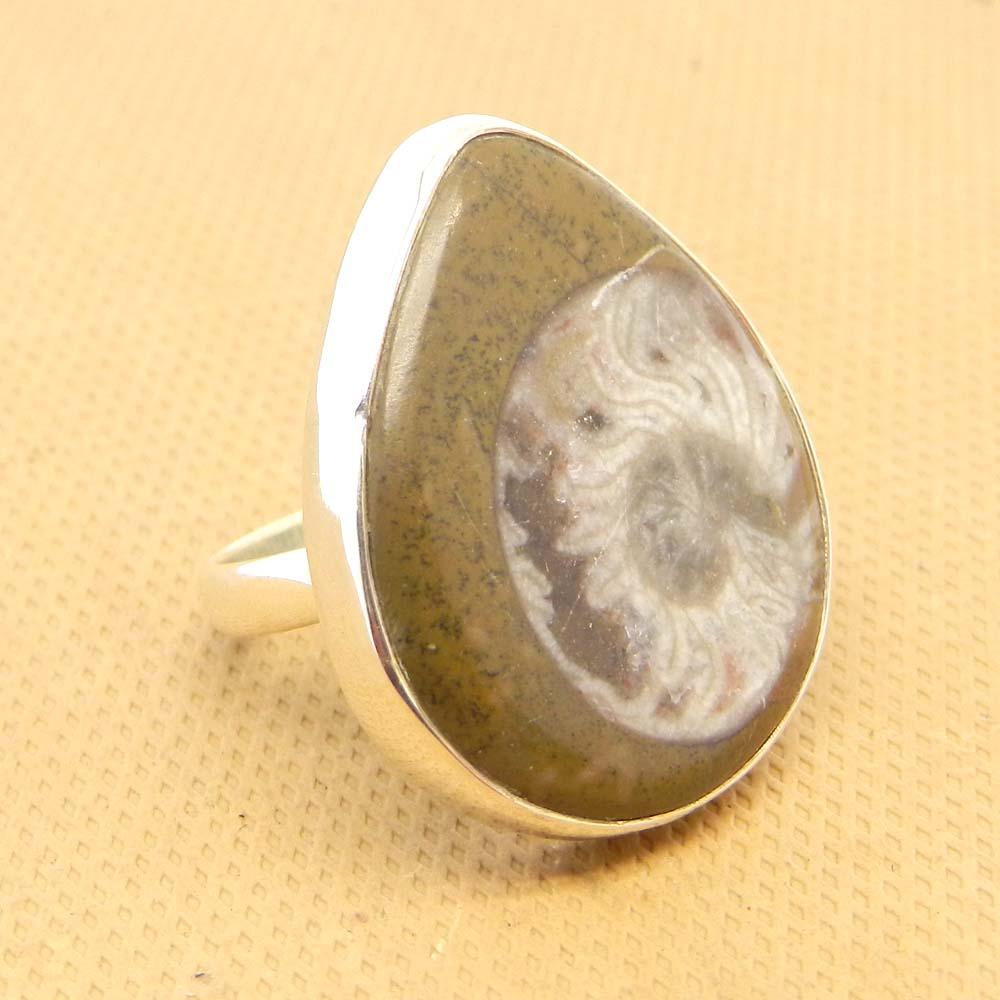 Ammonite Fossil 24x16mm Pear 925 Sterling Silver Bezel Set Ring