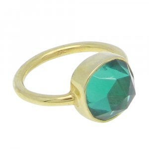 Apatite Hydro 11x11mm Cushion 925 Silver With Gold Plated Bezel Set Ring