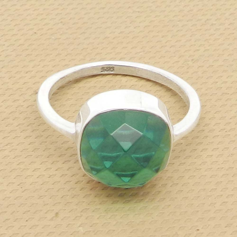 Apatite Hydro 13x13mm Cushion  925 Silver With Gold Plated Bezel Set Ring