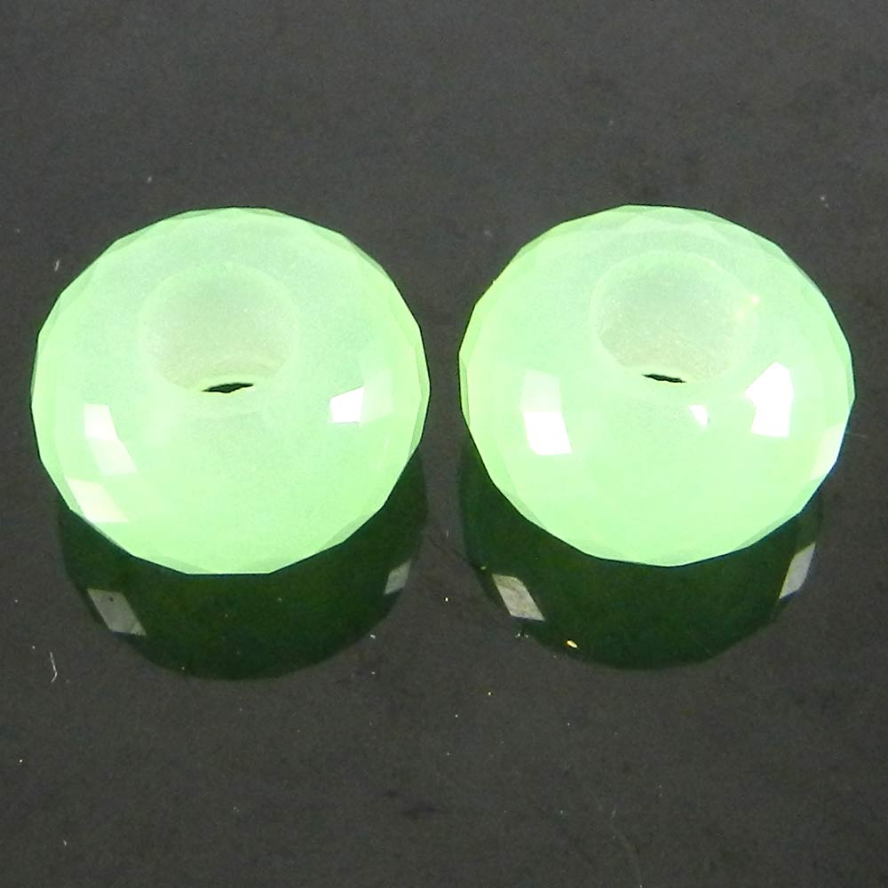 Apple Green Hydro14x8x5mm Round Facet Beads
