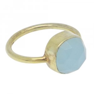 Aqua Chalcedony 10x10mm Cushion 925 Silver With Gold Plated Bezel Set Ring
