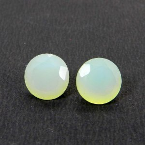Aqua Chalcedony 10x10mm Round Faceted cut 3.80 Cts