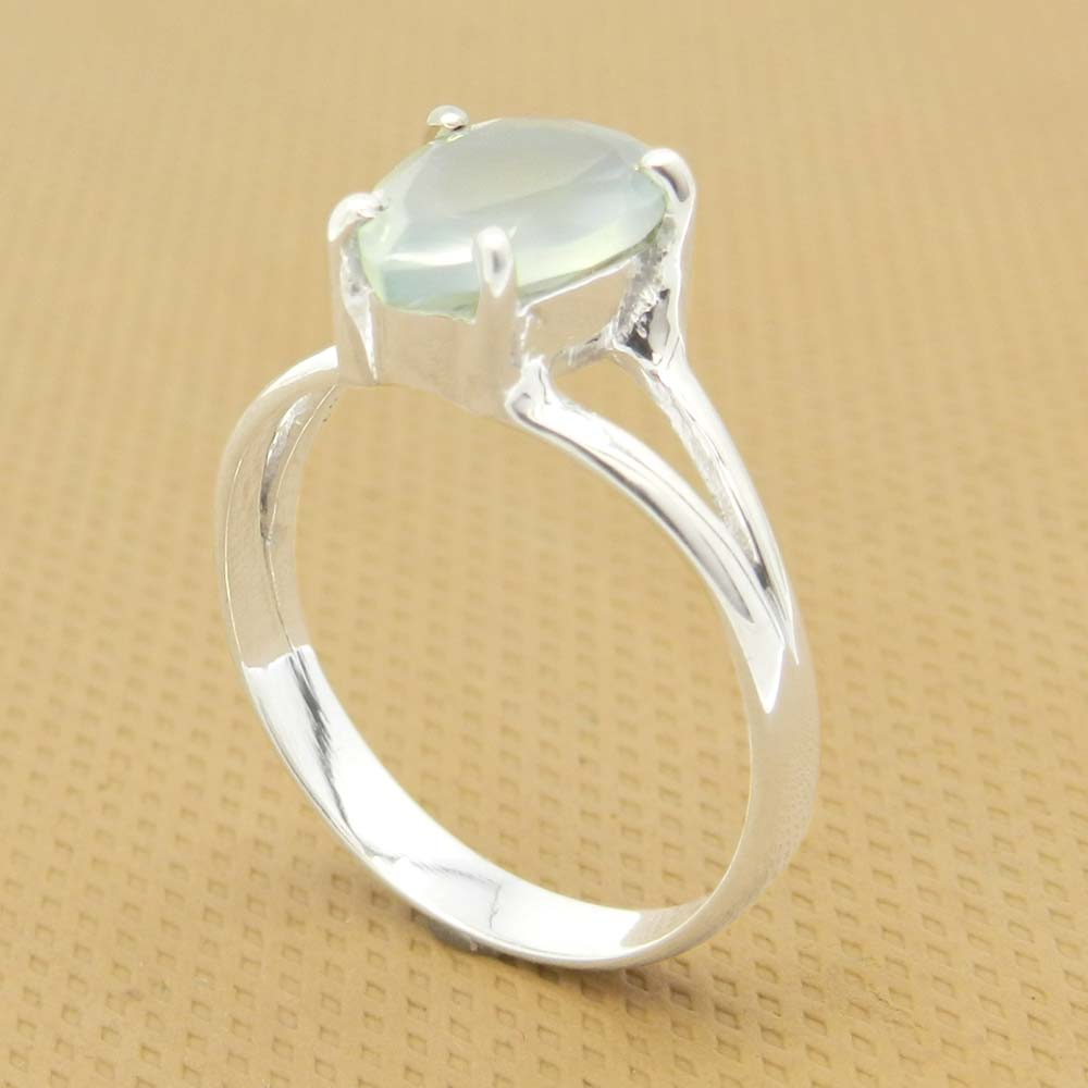 Aqua Chalcedony 10x7mm Pear 18k Gold Plated Silver Prong Set Ring