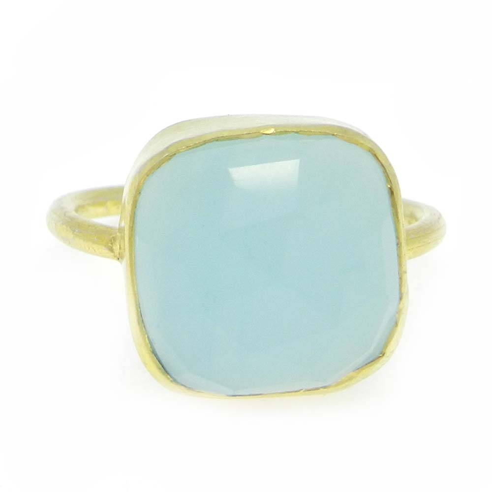Aqua Chalcedony 11x11mm Cushion 925 Silver With Gold Plated Bezel Set Ring
