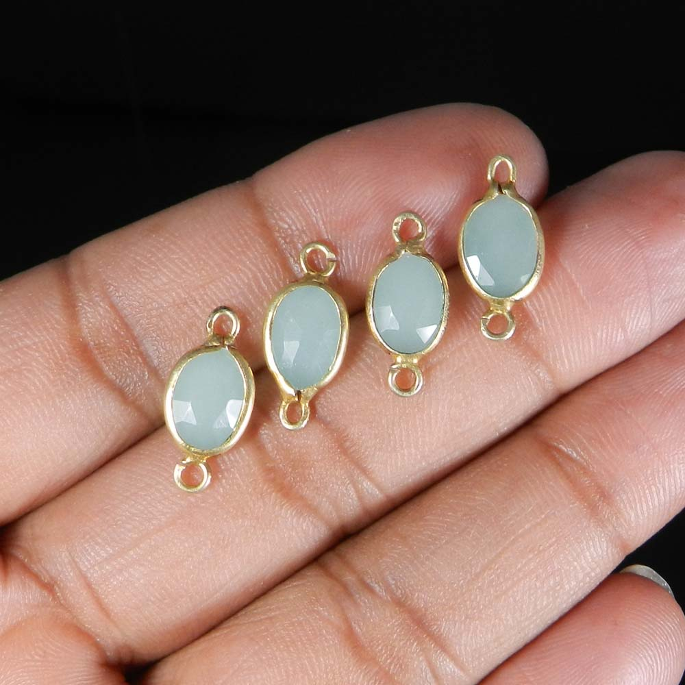 Aqua Chalcedony 17x8mm Trillian 925 Sterling Silver Gold Plated Double Loop Connector 0.49 Gms