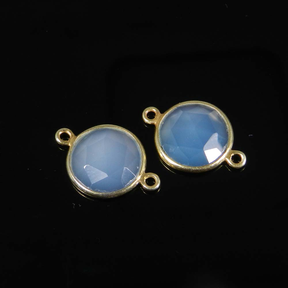 Aqua Chalcedony 20x13mm Round 925 Sterling Silver Gold Plated Double Loop Connector 1.05 Gms