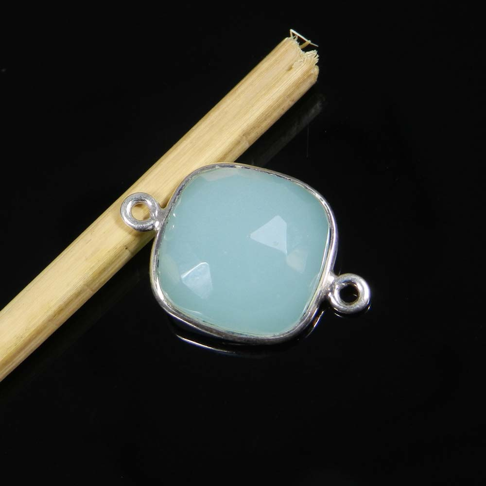 Aqua Chalcedony 20x13mm Square 925 Sterling Silver Double Loop Connector 1.64 Gms
