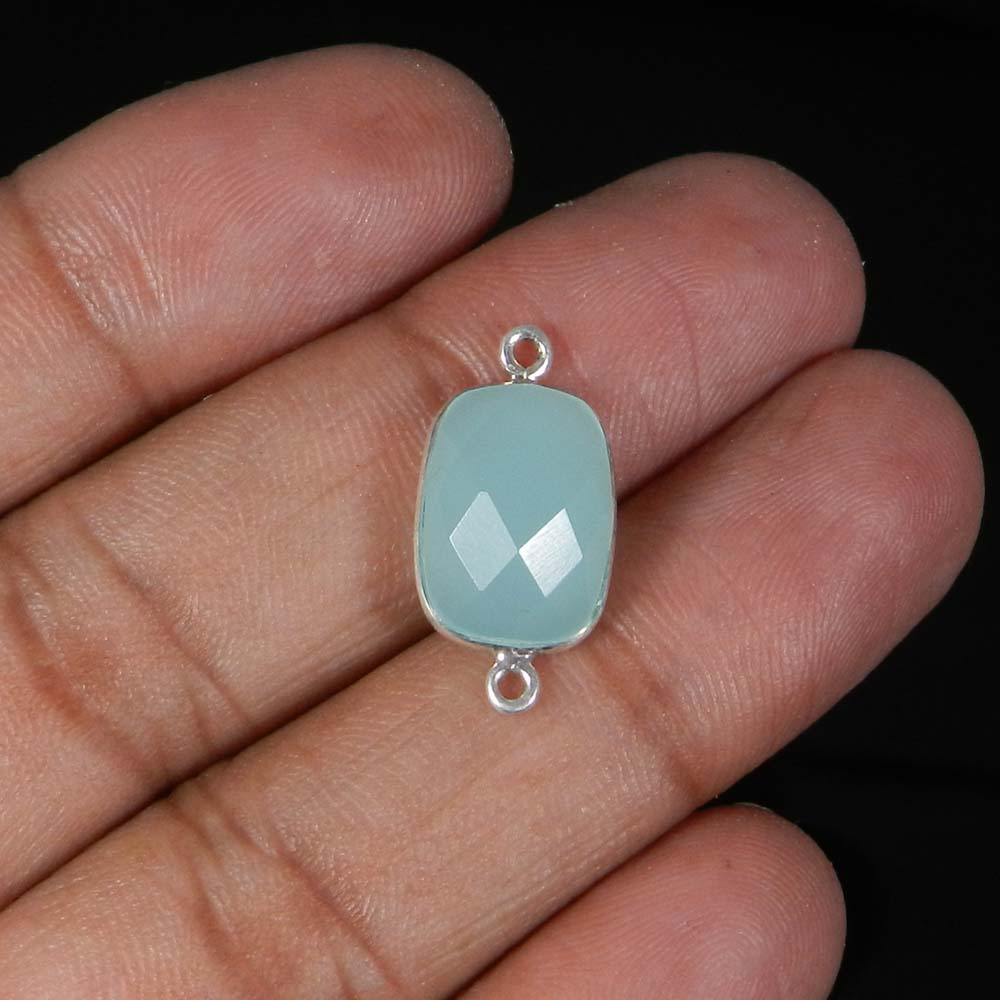 Aqua Chalcedony 21x11mm Rectangle 925 Sterling Silver Double Loop Connector 1.53 Gms