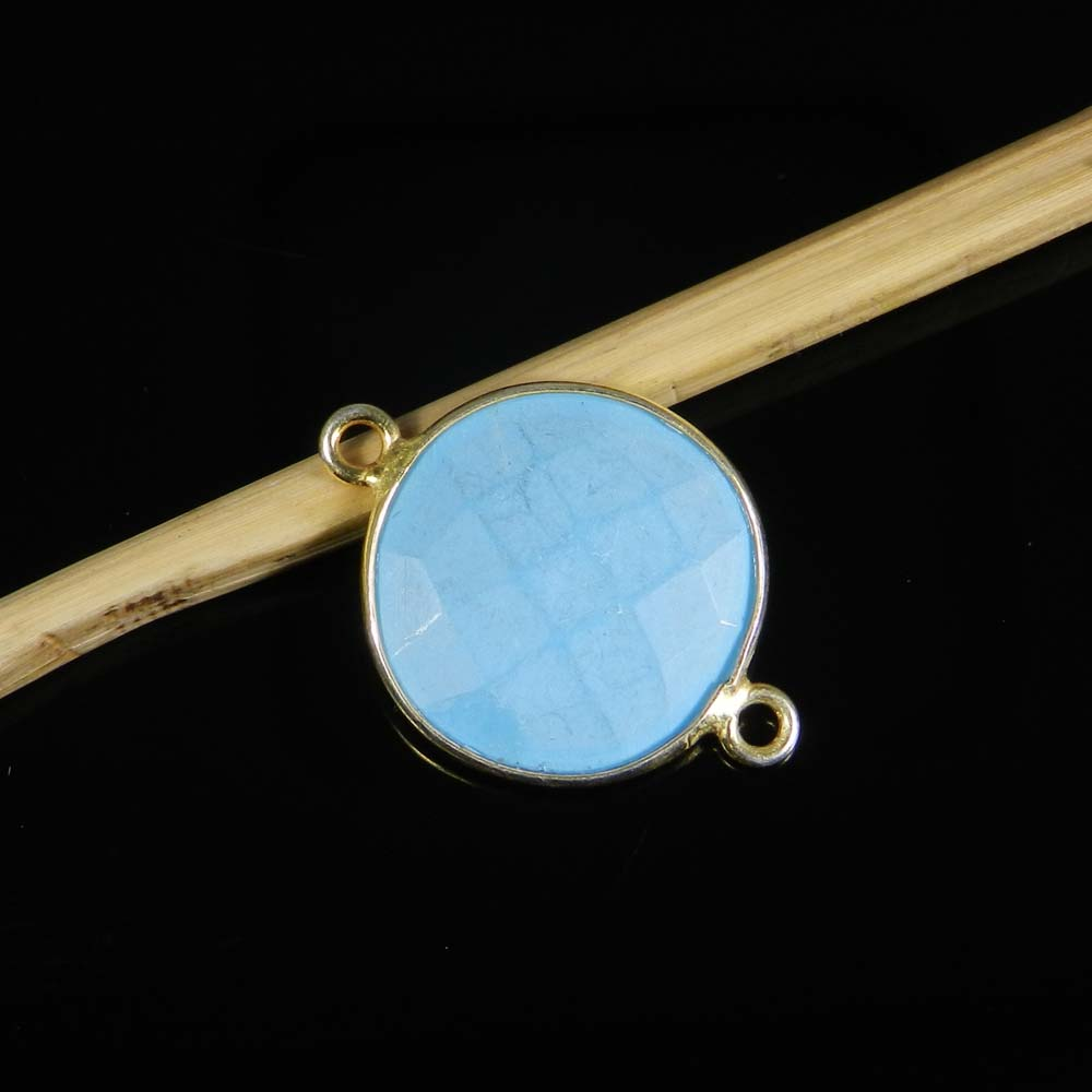 Aqua Chalcedony 21x15mm Round 925 Sterling Silver Gold Plated Double Loop Connector 1.00 Gms