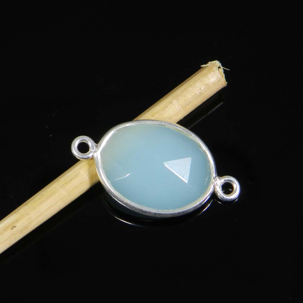 Aqua Chalcedony 24x13mm Oval 925 Sterling Silver Double Loop Connector 1.47 Gms