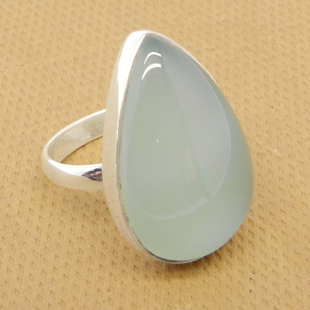 Aqua Chalcedony 25x17mm Pear 925 Sterling Silver Bezel Set Ring
