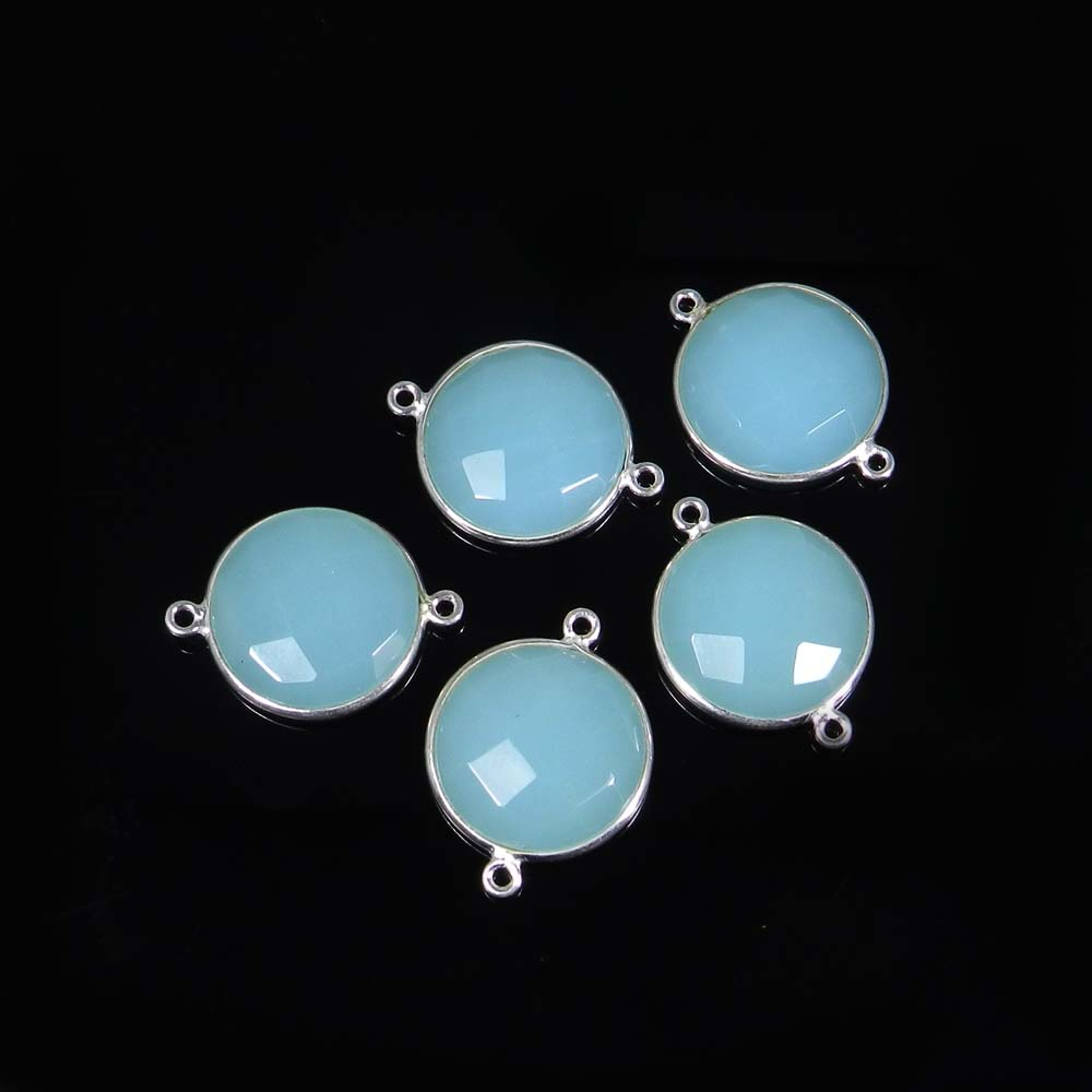 Aqua Chalcedony 25x19mm Round 925 Sterling Silver Double Loop Connector 3.12 Gms