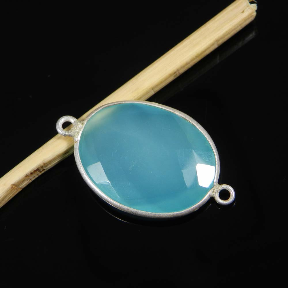 Aqua Chalcedony 29x17mm Oval 925 Sterling Silver Double Loop Connector 2.55 Gms