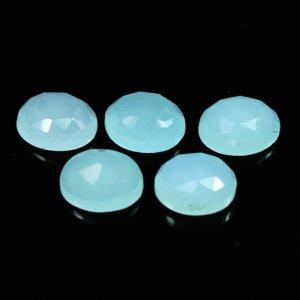 Aqua Chalcedony 9x7mm Oval Rose Cut 1.76 Cts