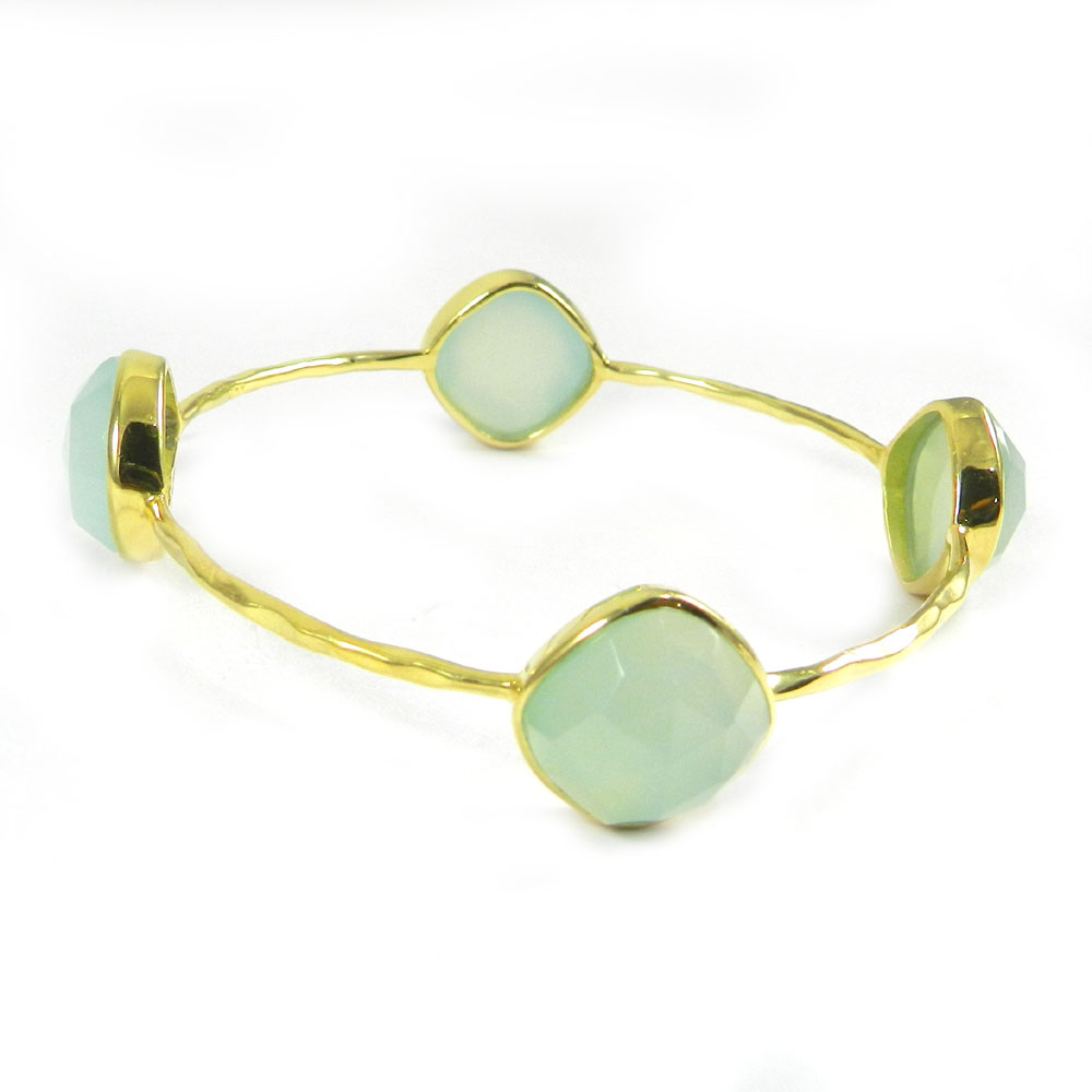 Aqua Chalcedony Silver With Gold Plated Bezel Hammered Bracelet