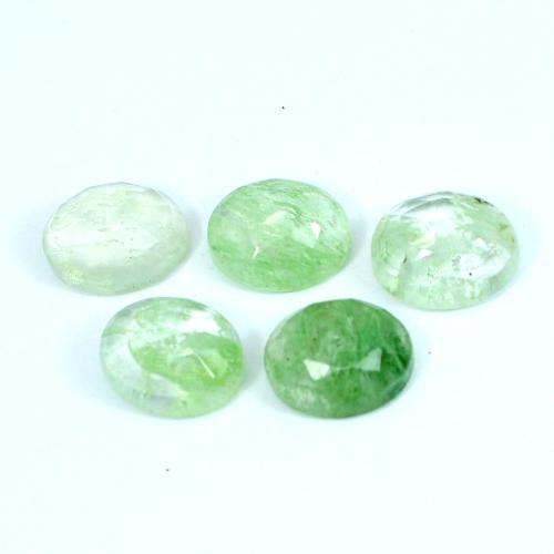 Aqua Crackle Glass 10x8mm Oval Rose Cut 2.52 Cts