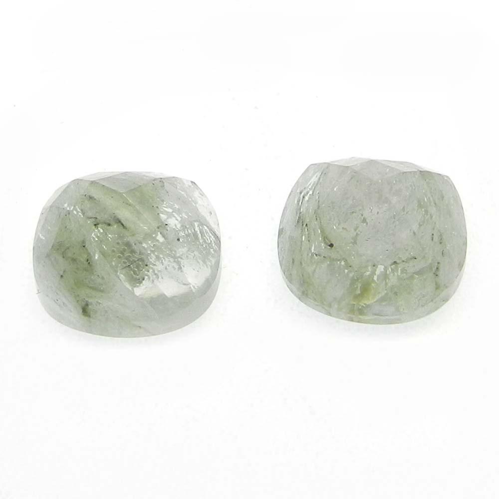Aqua Crackle Glass 11x11mm Cushion Cut 3.95 Cts