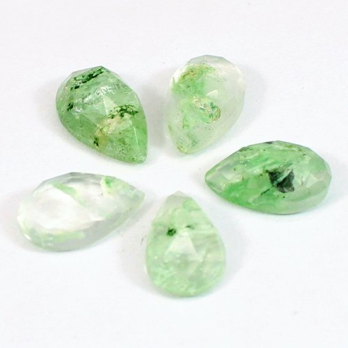 Aqua Crackle Glass 13x8mm Pear Rose Cut 2.92 Cts
