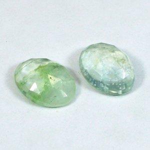 Aqua Crackle Glass 14x10mm Oval Rose Cut 4.20 Cts