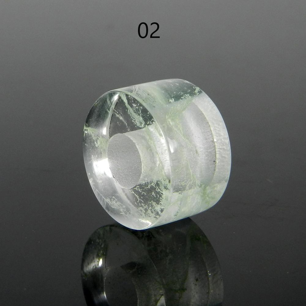 Aqua Crackle Glass 14x8x5mm Round Flat Beads