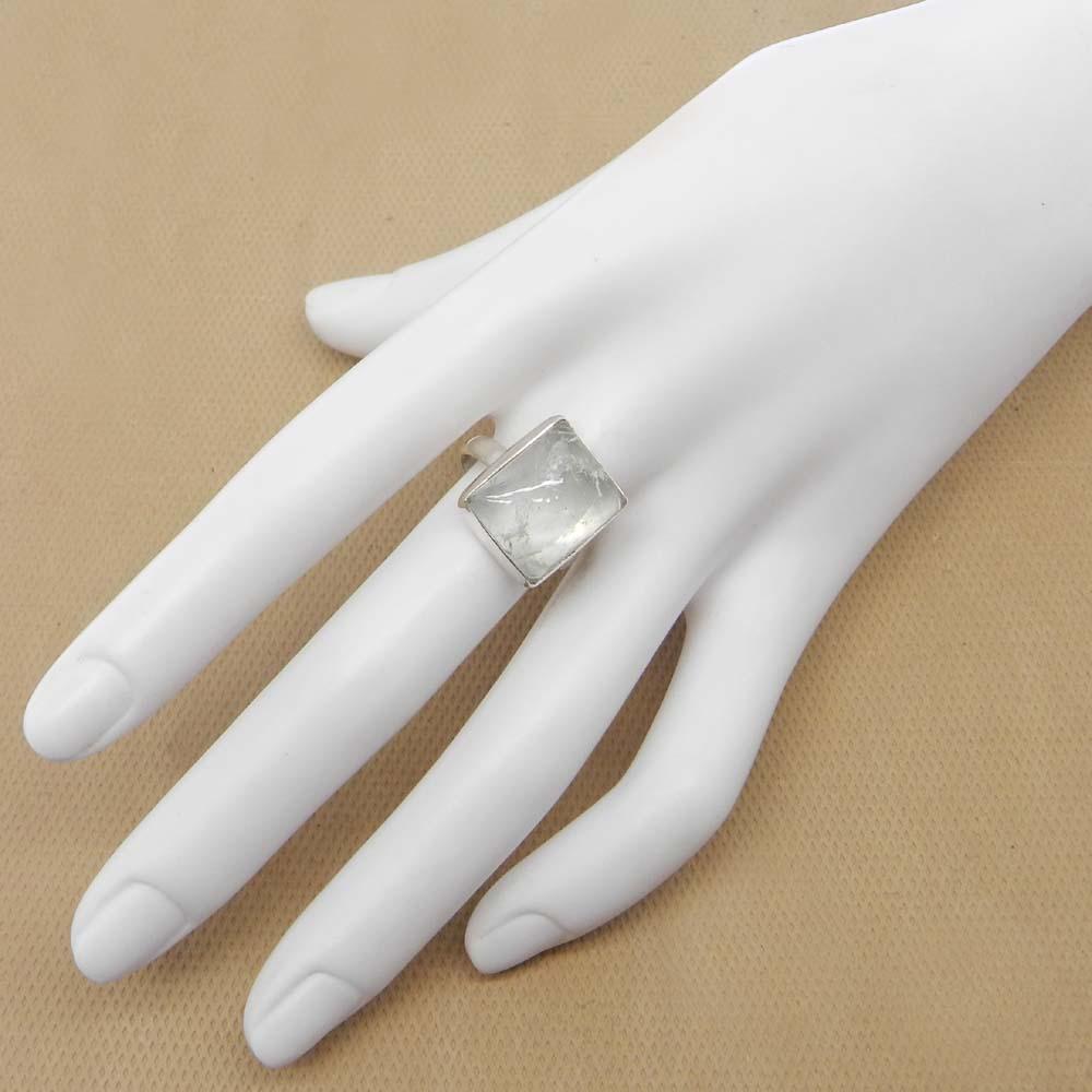 Aqua Crackle Glass 15x13mm Rectangle 925 Sterling Silver Bezel Set Ring