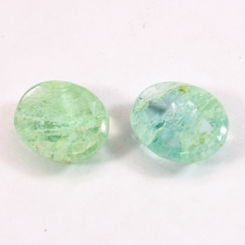Aqua Crackle Glass 16x12mm Oval Rose Cut 7.00 Cts