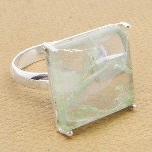 Aqua Crackle Glass 16x16mm Square 925 Silver Prong Set Ring