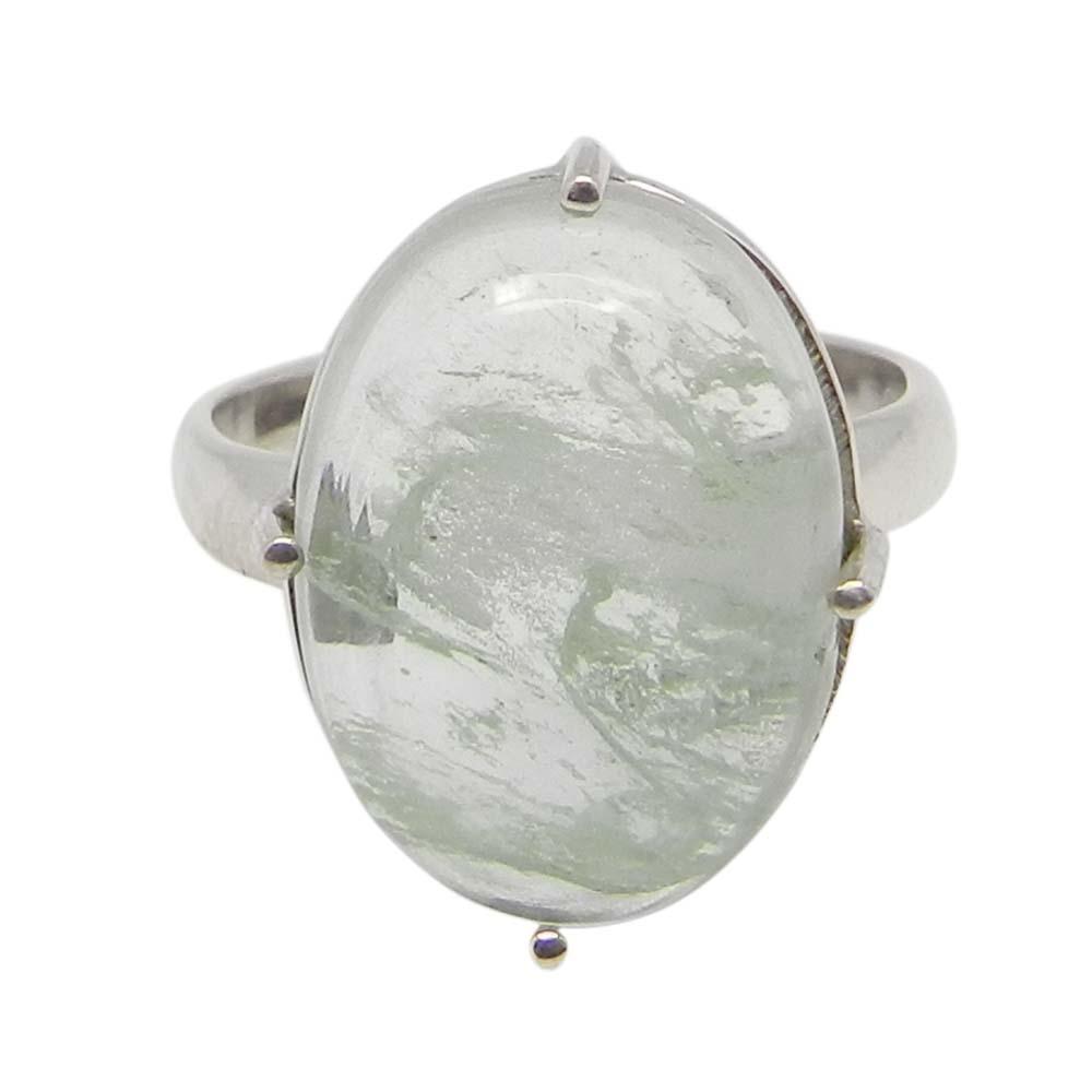 Aqua Crackle Glass 18x13mm Oval 925 Silver Prong Set Ring