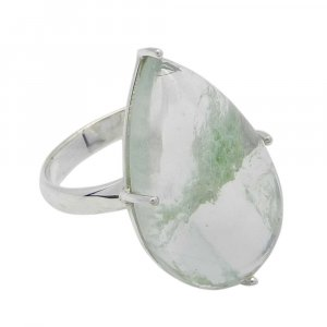 Aqua Crackle Glass 21x13mm Pear 925 Silver Prong Set Ring