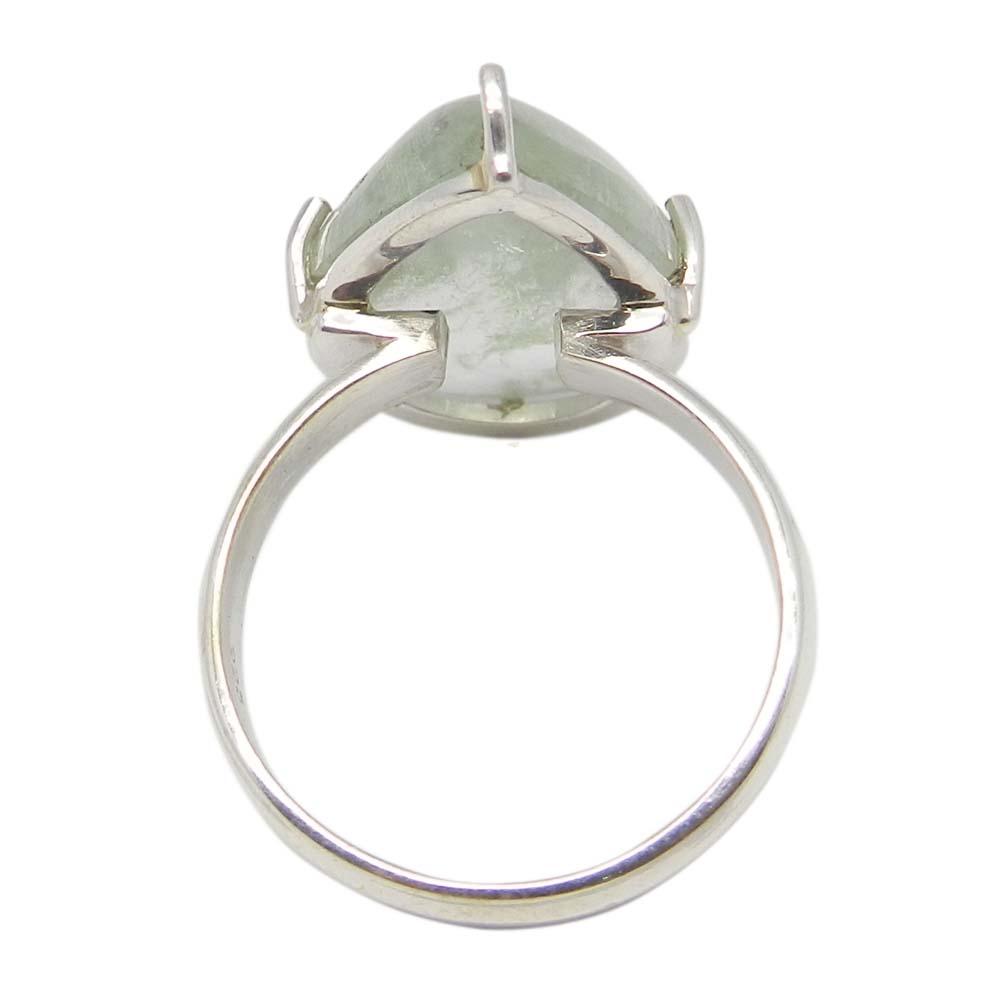 Aqua Crackle Glass 25x14mm Pear 925 Silver Prong Set Ring